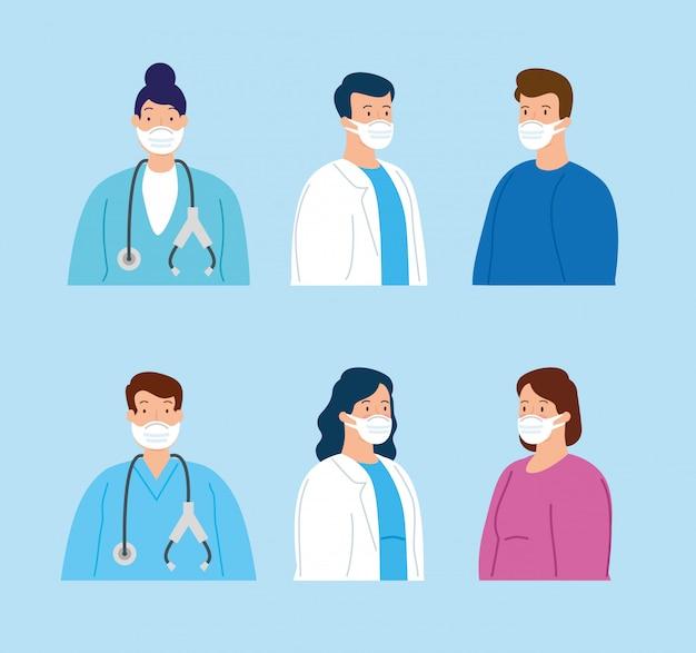 Grupa personelu medycznego i osób chorych przy użyciu maski na twarz