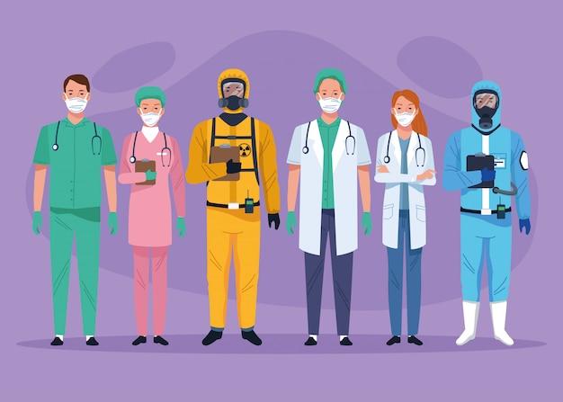 Grupa personelu medycznego pracowników opieki zdrowotnej znaków