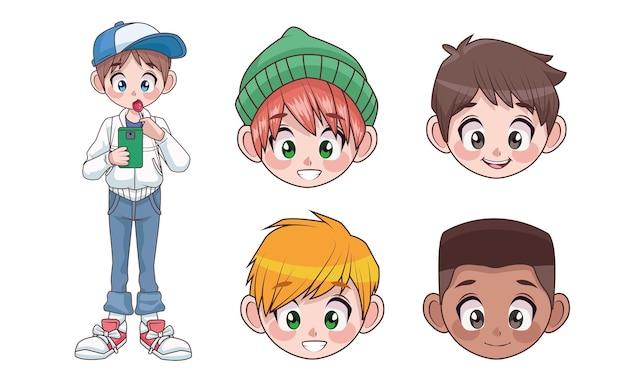 Grupa pięciu młodych międzyrasowych nastolatków chłopców dzieci głowy znaków ilustracja