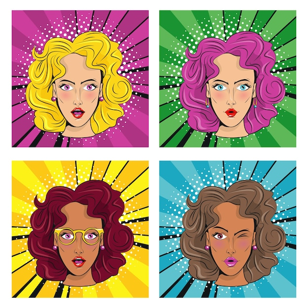 Grupa pięknych dziewczyn z kolorowymi włosami postaciami w stylu pop-art.