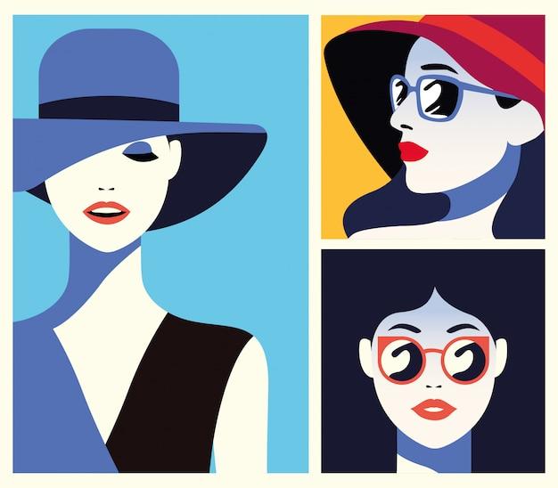 Grupa pięknych kobiet modnych postaci