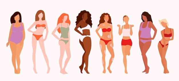 Grupa pięknych kobiet. pozytywność ciała. feminizm, różnorodność, ilustracja wektorowa równości rasowej.