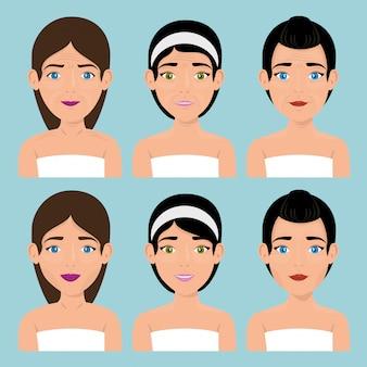 Grupa pięknych kobiet w leczeniu twarzy
