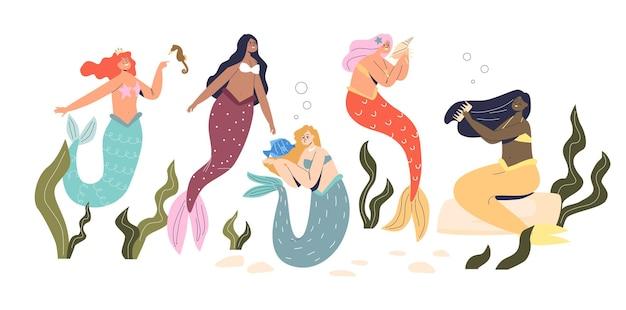 Grupa pięknych syren, tajemniczych podwodnych księżniczek z kolorowymi długimi włosami i rybim ogonem. wróżka nimfa morska, postacie z folkloru. ilustracja kreskówka płaski wektor