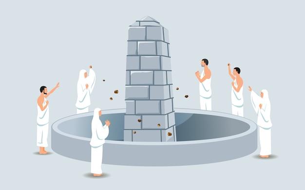 Grupa pielgrzymów hadżów kamieniowany filar diabła