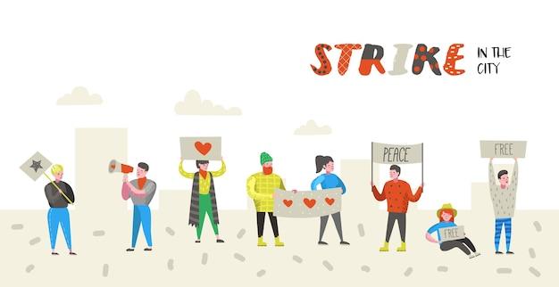 Grupa płaskich gniewnych ludzi protestujących przeciwko strajkowi. postacie pikietują coś z transparentami i tabliczkami. demonstracja, protest, pikiet. ilustracji wektorowych