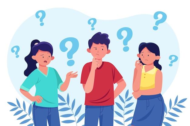 Grupa płaskich ludzi zadająca pytania