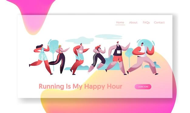 Grupa postaci biegnących dystans maratonu w trybie surowym. sportowe zawody w joggingu. szablon strony docelowej witryny