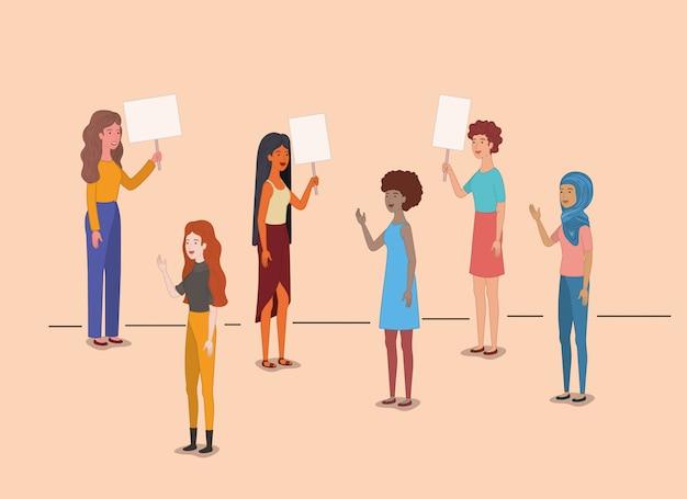 Grupa postaci kobiecych z feministyczną wiadomością