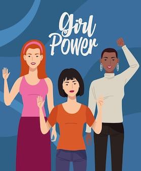 Grupa postaci pięknych kobiet z ilustracji napis girl power