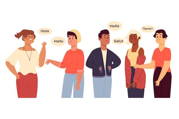 Grupa postaci rozmawiających w różnych językach