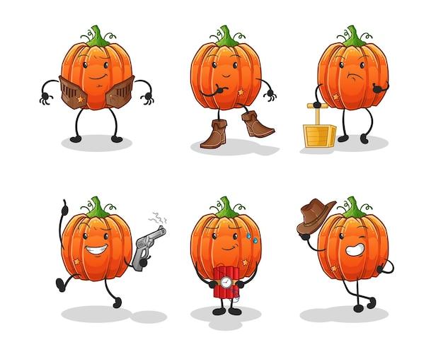 Grupa postaci z dyni kowboja. kreskówka maskotka