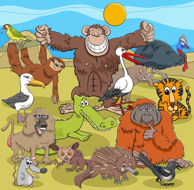 Grupa postaci z komiksów dzikich zwierząt z kreskówek