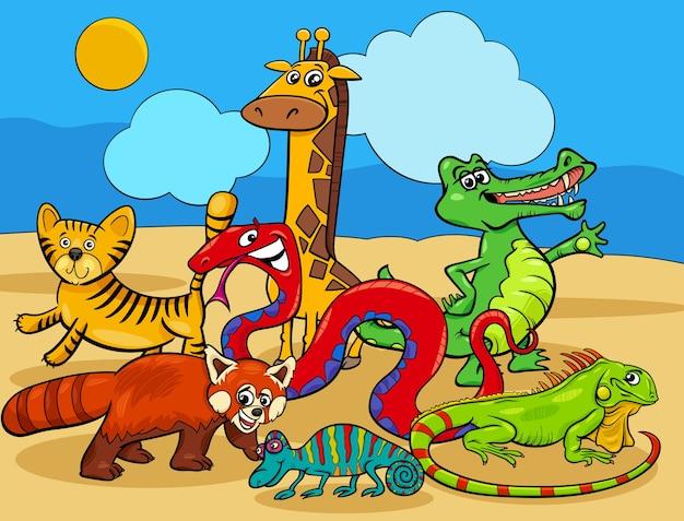 Grupa postaci z kreskówek dzikich zwierząt