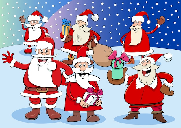 Grupa postaci z kreskówek świętego mikołaja na czas bożego narodzenia