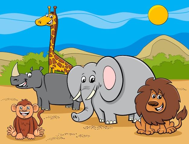 Grupa postaci z kreskówek zwierząt z safari