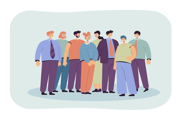 Grupa pracowników biurowych stojących razem płaska ilustracja