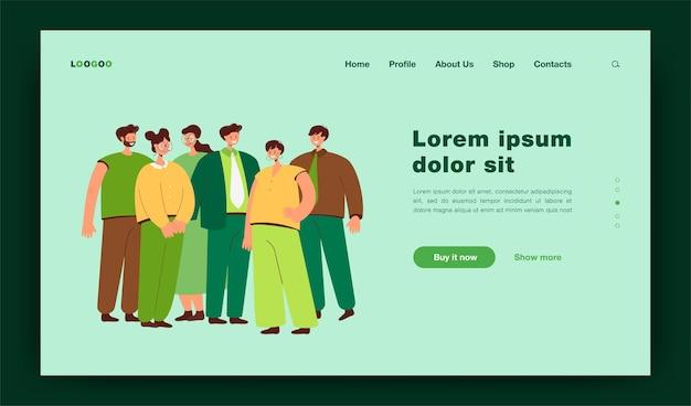 Grupa pracowników biurowych stojących razem płaski ilustracja. kreskówka szczęśliwy portret pracowników zawodowych w kolorze. strona docelowa zespołu biznesowego, kariery i startupu
