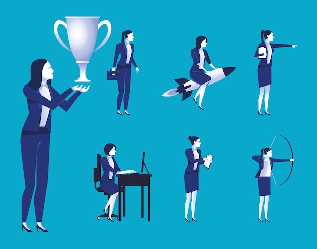 Grupa pracowników eleganckich przedsiębiorców avatary znaków ilustracji