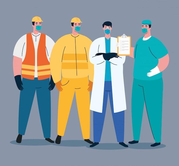 Grupa pracowników korzystająca z masek medycznych na wypadek pandemii covida 19