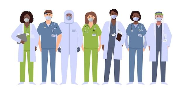 Grupa pracowników medycznych w środkach ochrony indywidualnej. lekarz, stażysta, pielęgniarka, terapeuta, ratownik, specjalista od kombinezonu ochronnego. ludzie w maskach lub respiratorach, tarczach, okularach.