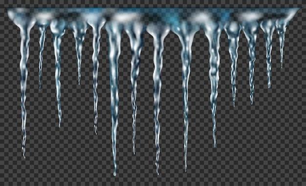 Grupa przezroczystych, jasnoniebieskich, realistycznych sopli o różnych długościach połączonych u góry. do stosowania na ciemnym tle. przezroczystość tylko w formacie wektorowym