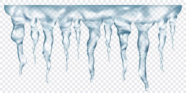 Grupa przezroczystych szarych realistycznych sopli o różnych długościach, połączonych u góry, na przezroczystym tle. przezroczystość tylko w formacie wektorowym