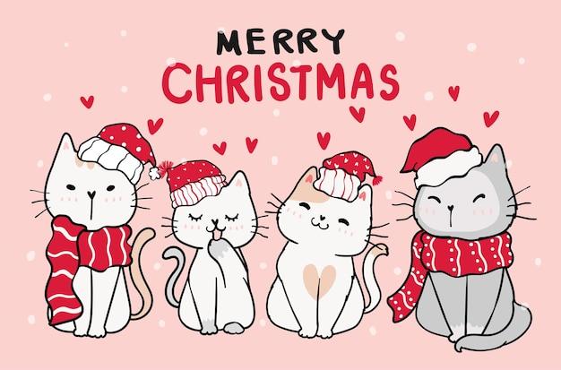 Grupa przyjaciela ślicznego kota kotka w boże narodzenie czerwony kapelusz i szalik z opadami śniegu na różowym tle, wesołych świąt
