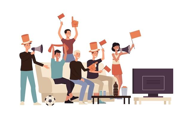 Grupa przyjaciół kreskówka ludzie oglądający piłkę nożną
