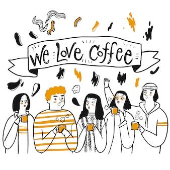 Grupa przyjaciół lub ludzi, którzy lubią pić kawę