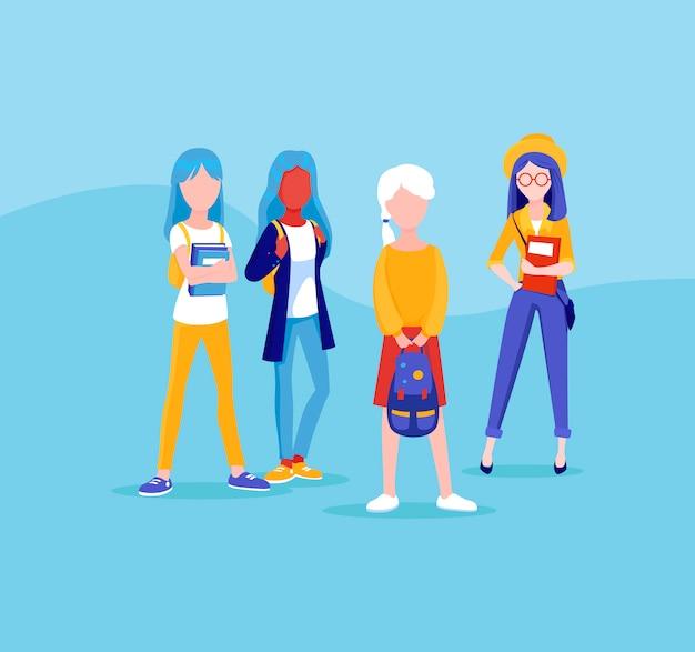 Grupa przyjaciół młodych dziewcząt, stanąć razem. studenci, ilustracja uczniów w stylu cartoon. zestaw nastolatków dziewcząt. koledzy ze szkoły rozmawiają podczas przerwy