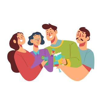 Grupa przyjaciół opiekania razem