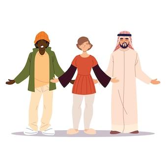 Grupa przyjaciół razem, różnorodność lub wielokulturowość.