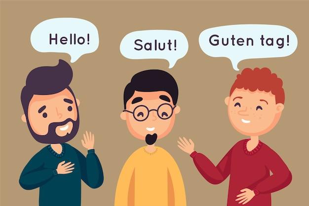 Grupa przyjaciół rozmawiających w różnych językach