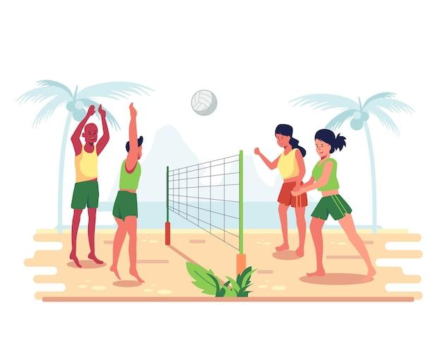 Grupa przyjaciół spędza wakacje na plaży grając w siatkówkę.