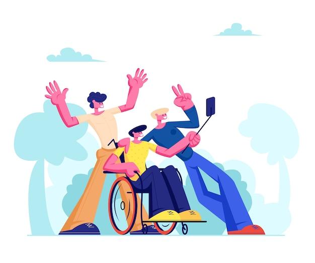 Grupa przyjaciół z niepełnosprawnym mężczyzną na wózku inwalidzkim