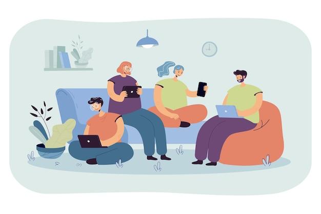 Grupa przyjaciół z urządzeniami cyfrowymi, którzy spotykają się w domu, siedzą razem. ilustracja kreskówka