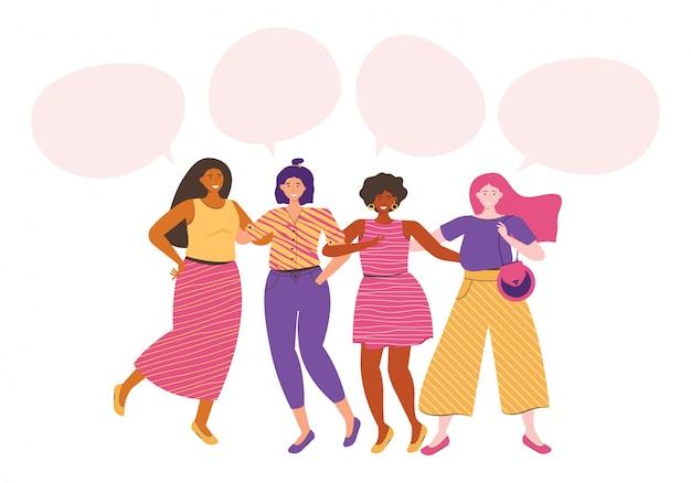 Grupa przyjaźni kobiet. różnorodna żeńska międzynarodowa drużyna stojąca razem, trzymająca się za ręce, moc dziewczyny. wielonarodowa społeczność siostrzana. przyjaciele kobiet. bańka dialogu z pustą przestrzenią na tekst