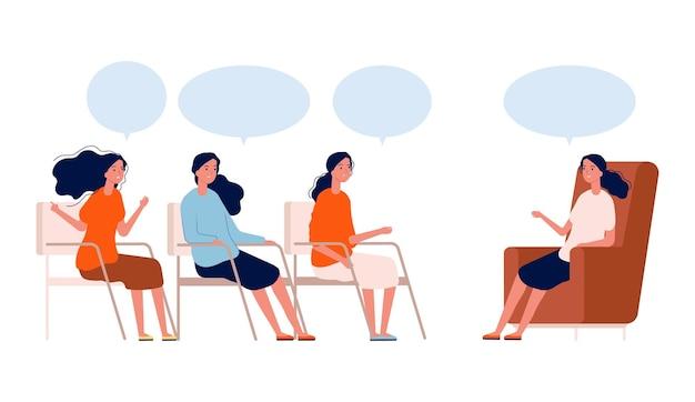 Grupa psychoterapeutyczna. konsultacje kobiet z terapeutą, coachingiem lub klubem dyskusyjnym. kobieta pomoc spotkanie koncepcja wektor. ilustracja grupa kobiet psychoterapii, wsparcie psychologii i psychiatrii