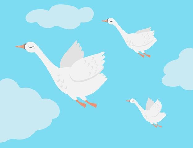 Grupa ptaków łabędzie latające w niebo ilustracja kreskówka. rodzina gęsi migrująca razem do ciepłych krajów