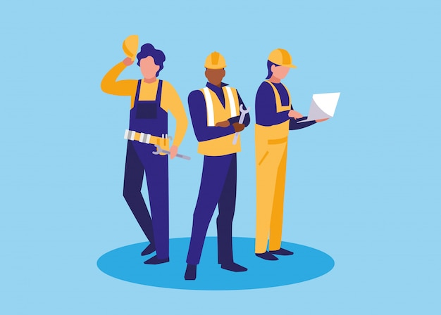 Grupa robotników przemysłowych postać awatara