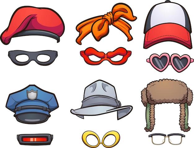 Grupa różnorodnych kapeluszy i okularów z kreskówek