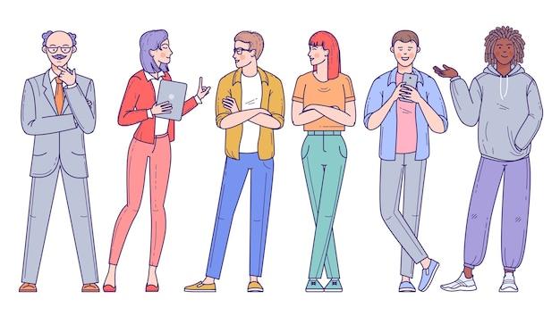 Grupa różnorodnych ludzi, mężczyzn i kobiet różnych ras, zawodów i wieku na białym tle. zestaw znaków.