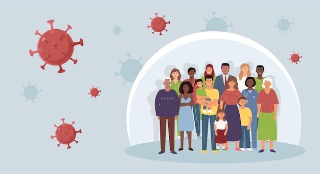 Grupa różnorodnych ludzi w bańce. odporność zbiorowa na koronawirusa, kontrolująca rozprzestrzenianie się epidemii.