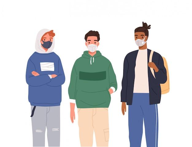 Grupa różnorodnych nowoczesnych nastolatków noszących maski ochronne płaska ilustracja. ochrona przed epidemią koronawirusa