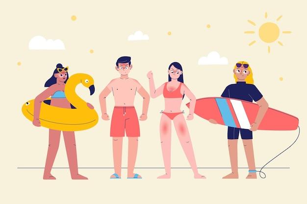 Grupa różnych ludzi z oparzeniami słonecznymi