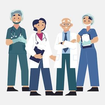 Grupa różnych uśmiechniętych lekarzy