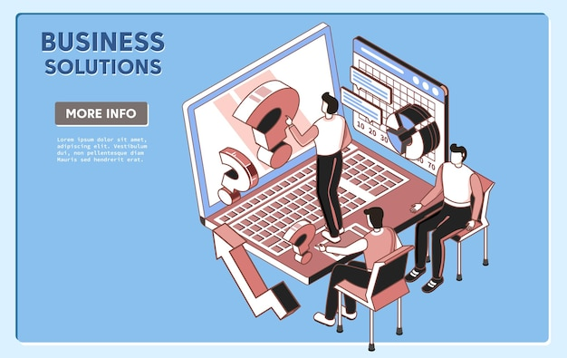 Grupa rozwiązanie biznesowe osób pracujących nad zadaniem izometrycznym ilustracji