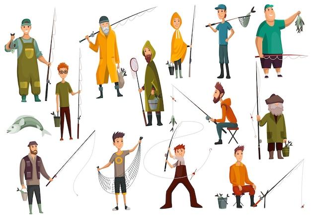 Grupa rybaków łowiących ryby. zestaw wędkarzy ze sprzętem do cięcia ryb. ikona płaski wektor koncepcja wakacje. wypoczynek i hobby łowienie ryb