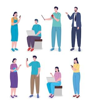 Grupa siedmiu osób i nauczyciel projektu ilustracji edukacji online